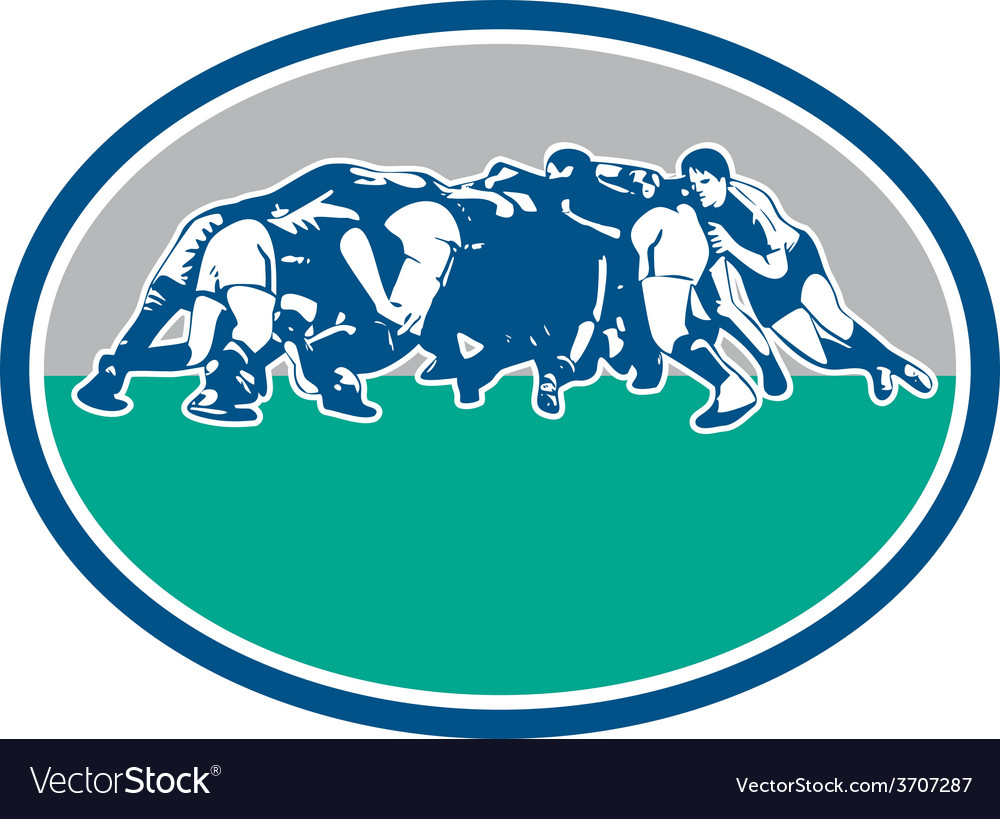 Rugby union scrum oval retro vector | Price: 1 Credit (USD $1)