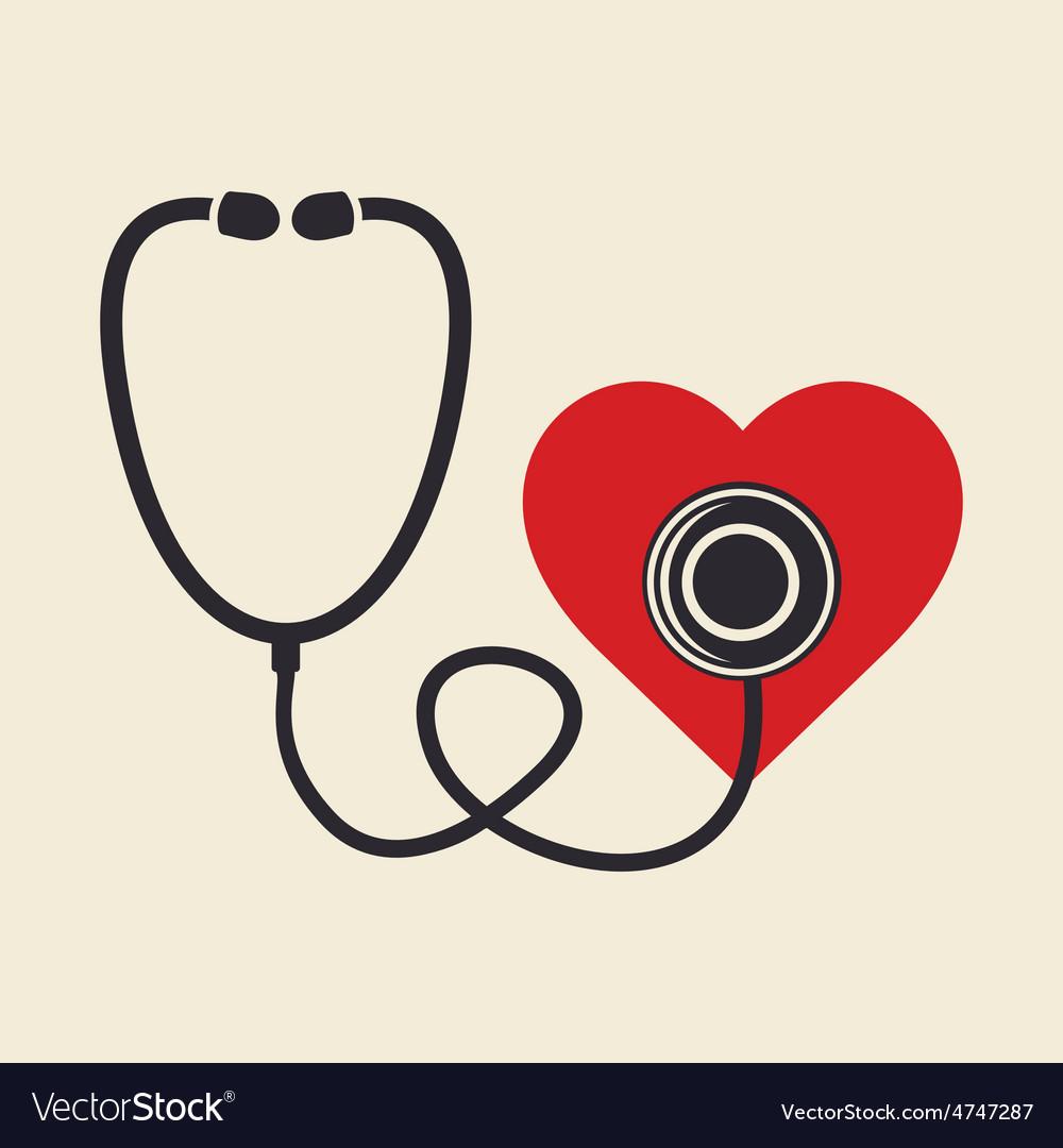 Stetoskop i srce resize vector | Price: 1 Credit (USD $1)
