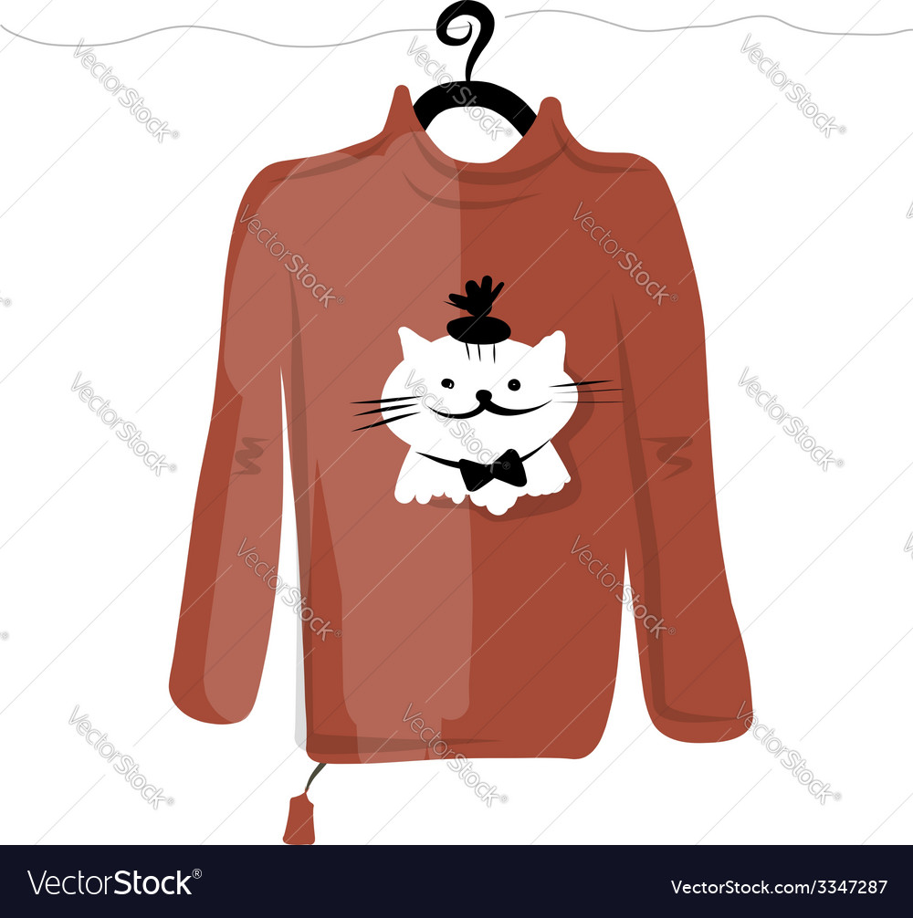 Sweater on hangers with funny cat design vector | Price: 1 Credit (USD $1)