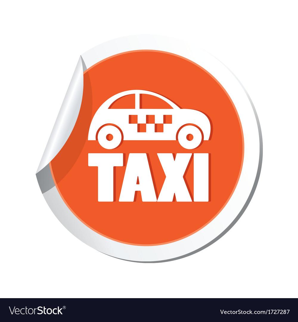 Taxi icon orange sticker vector | Price: 1 Credit (USD $1)