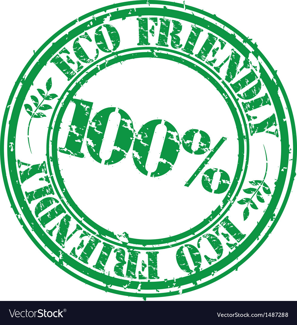 100 percent eco friendly grunge stamp vector   Price: 1 Credit (USD $1)