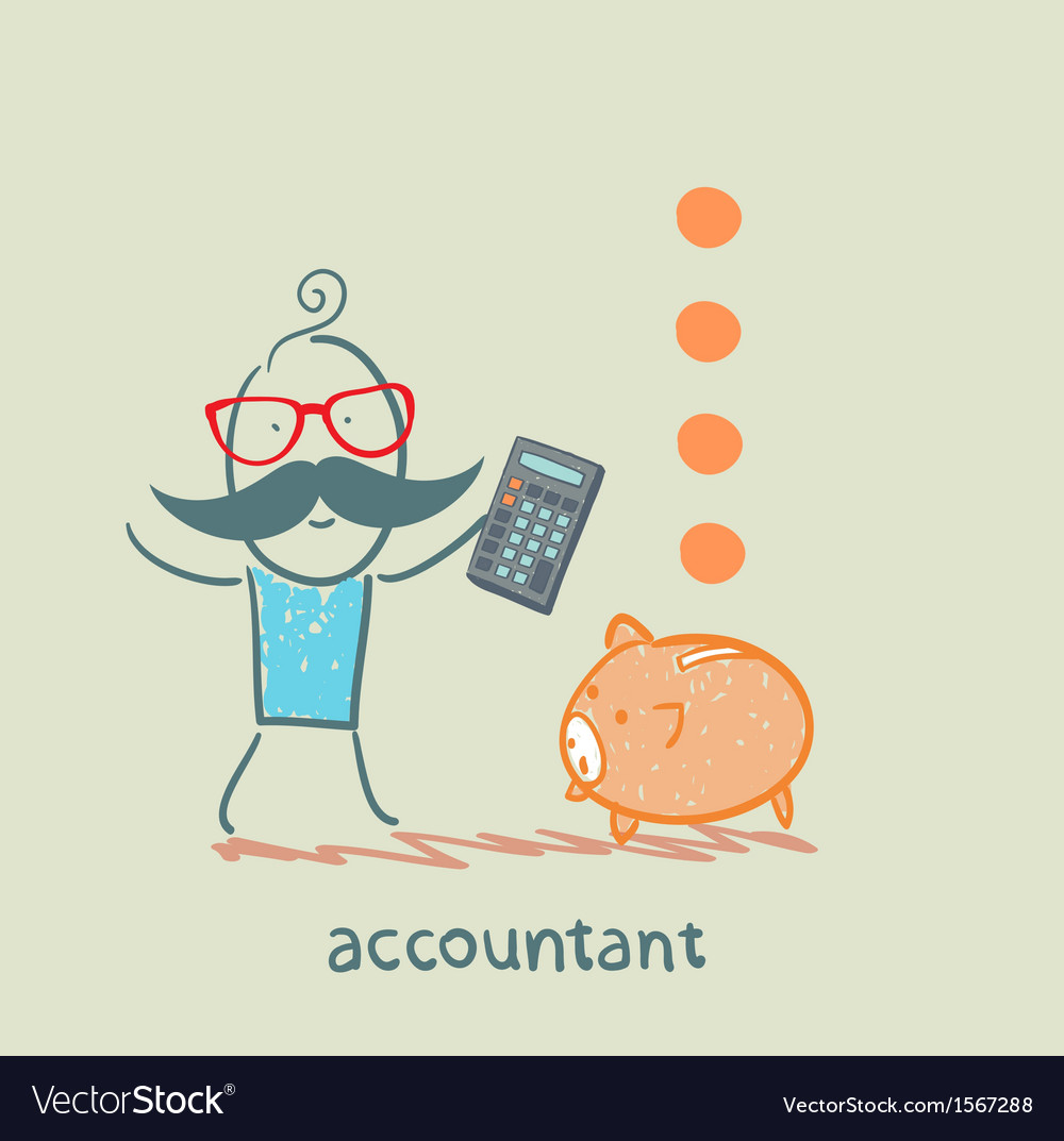 Accountant with a calculator counting money vector | Price: 1 Credit (USD $1)
