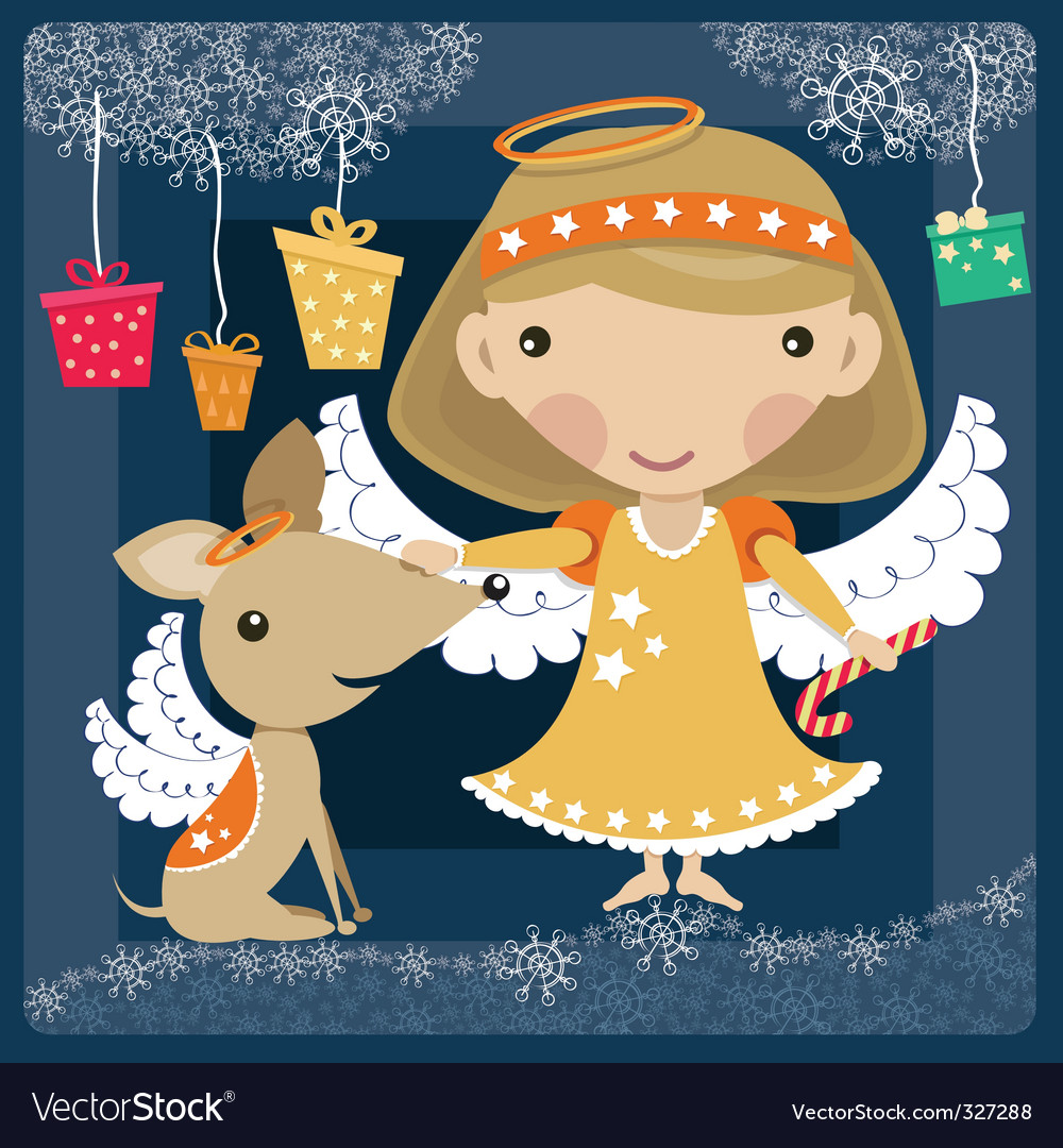 Angel with a dog vector | Price: 3 Credit (USD $3)