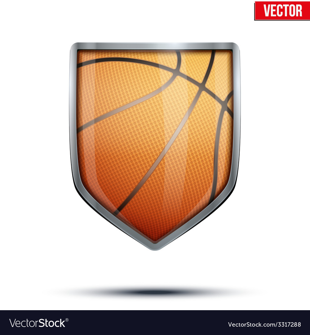 Bright shield in the basketball ball inside vector | Price: 1 Credit (USD $1)