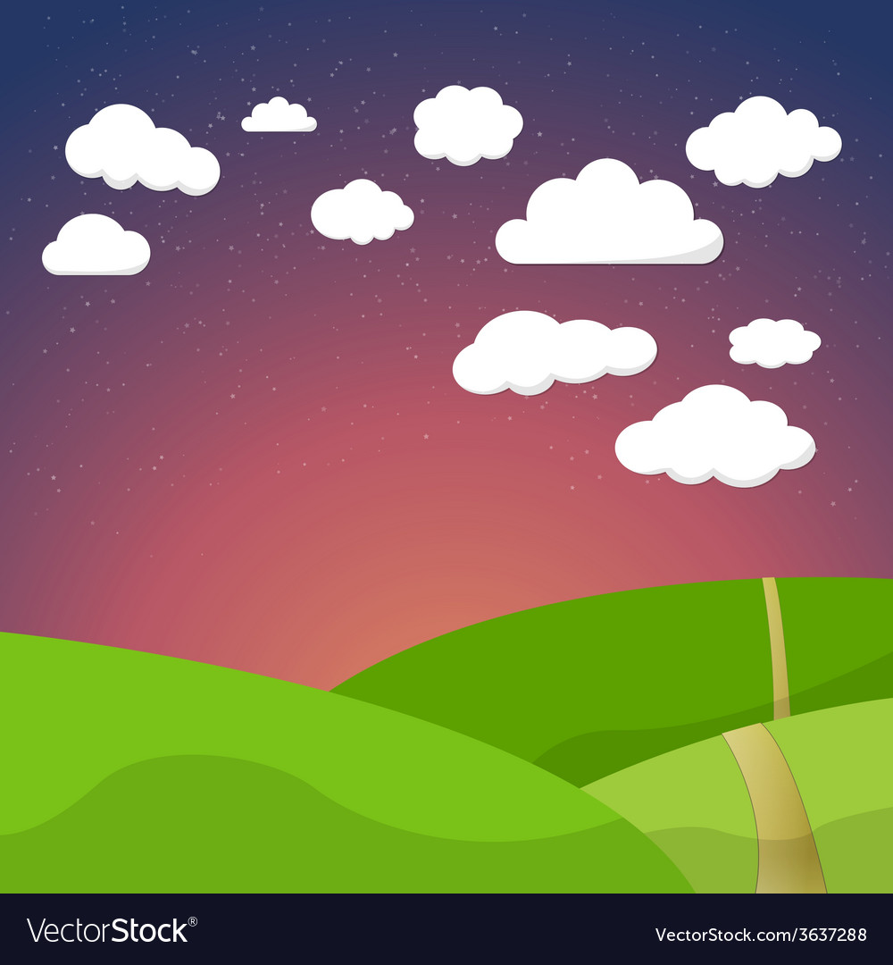 Cartoon retro night sky with field clouds and vector | Price: 1 Credit (USD $1)