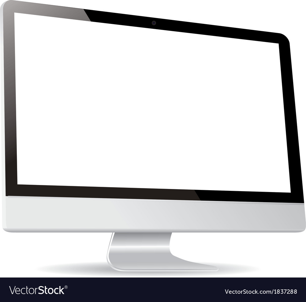 Computer display side isolated on white background vector | Price: 1 Credit (USD $1)