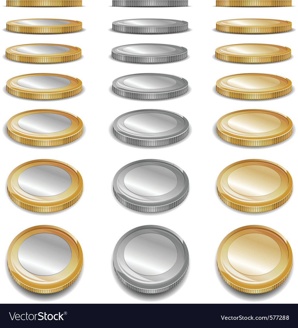 Gold and sliver coins vector | Price: 1 Credit (USD $1)