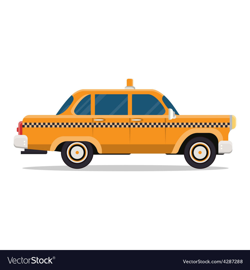 Graphic yellow retro taxi cab on white vector | Price: 1 Credit (USD $1)