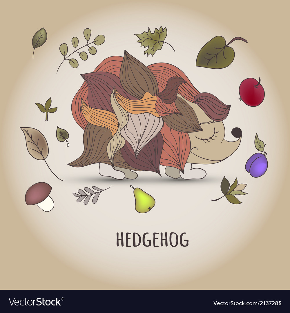 Hedgehog with fruit and leaves vector | Price: 1 Credit (USD $1)