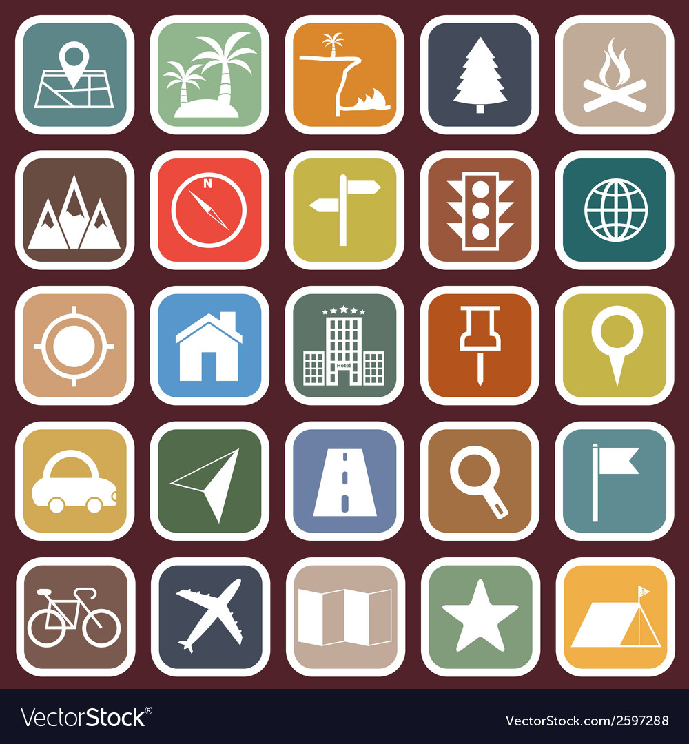 Location flat icons on red background vector | Price: 1 Credit (USD $1)