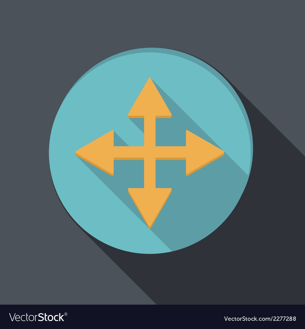 Paper flat icon with a shadow the move arrows vector | Price: 1 Credit (USD $1)