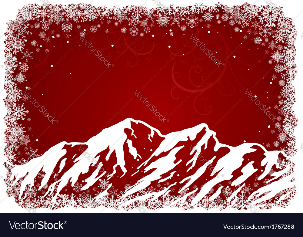 Red christmas background with mountains vector | Price: 1 Credit (USD $1)