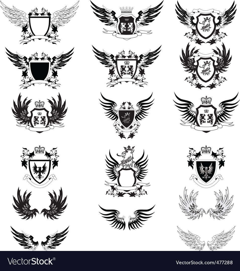Set of 12 grunge shields vector | Price: 1 Credit (USD $1)