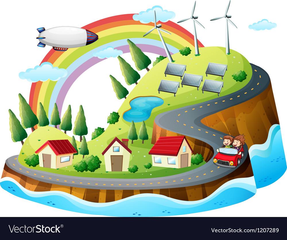 A colorful village vector | Price: 1 Credit (USD $1)