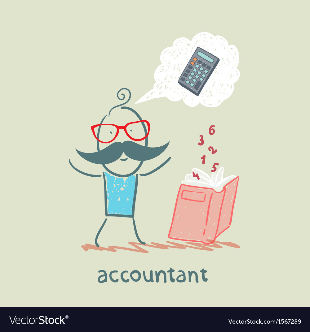 Accountant with a book about thinking about vector | Price: 1 Credit (USD $1)