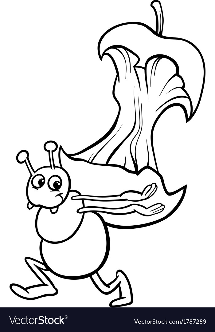 Ant with apple core coloring page vector | Price: 1 Credit (USD $1)