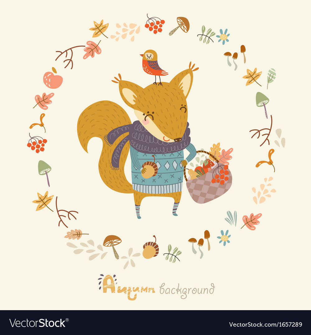 Autumn image with a squirrel vector | Price: 1 Credit (USD $1)