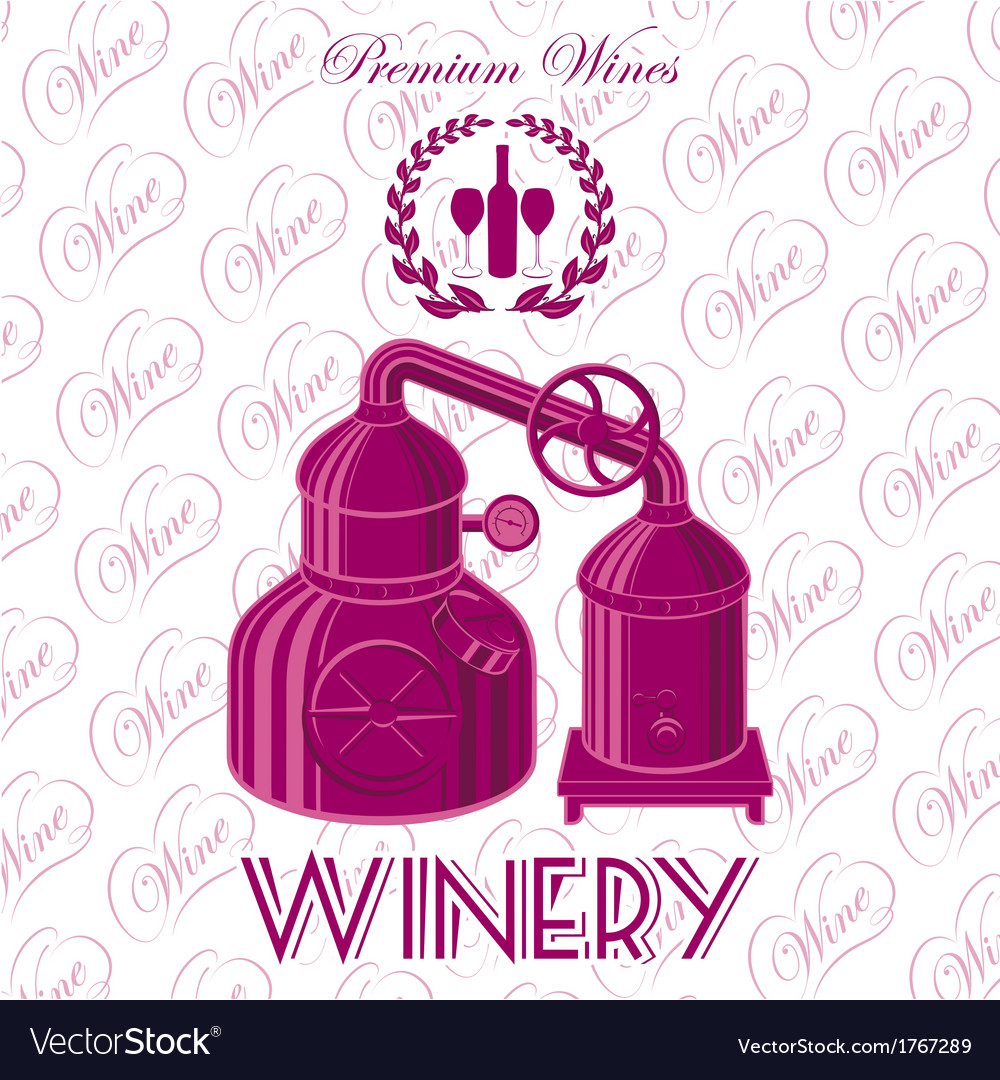 Background with wreath winery for wine vector | Price: 1 Credit (USD $1)