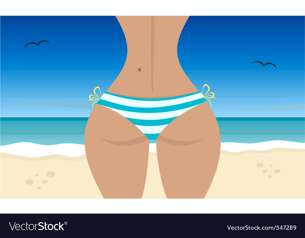 Beach girl summer day vector | Price: 1 Credit (USD $1)