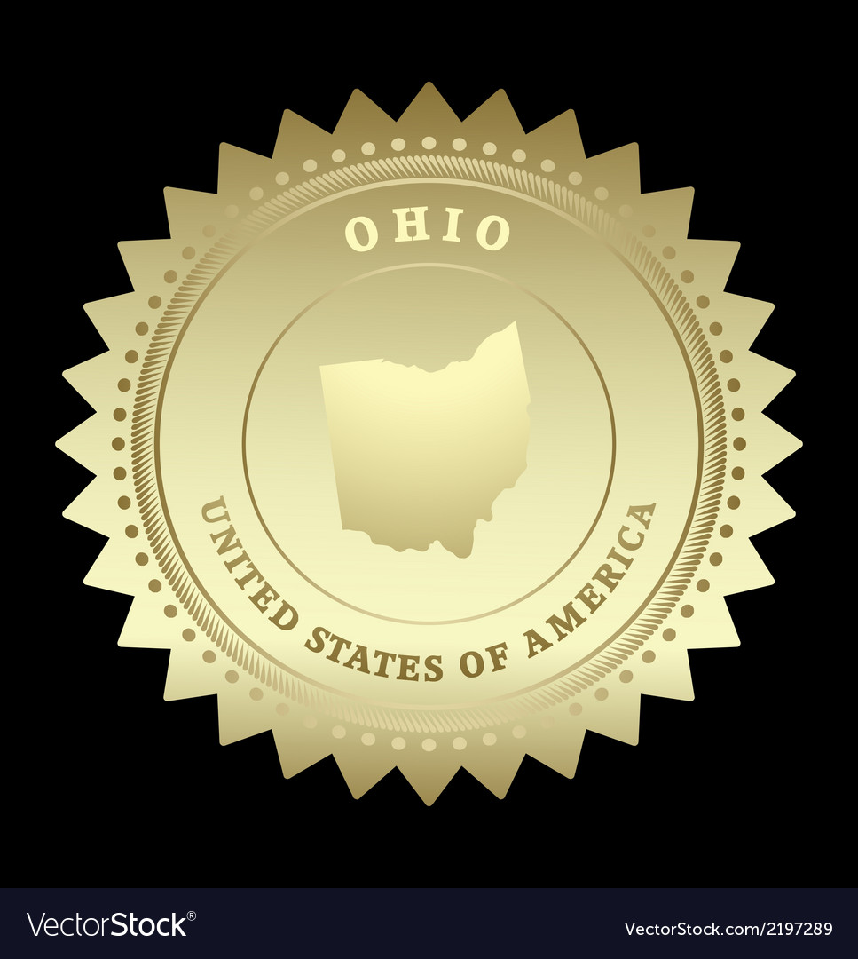 Gold star label ohio vector | Price: 1 Credit (USD $1)