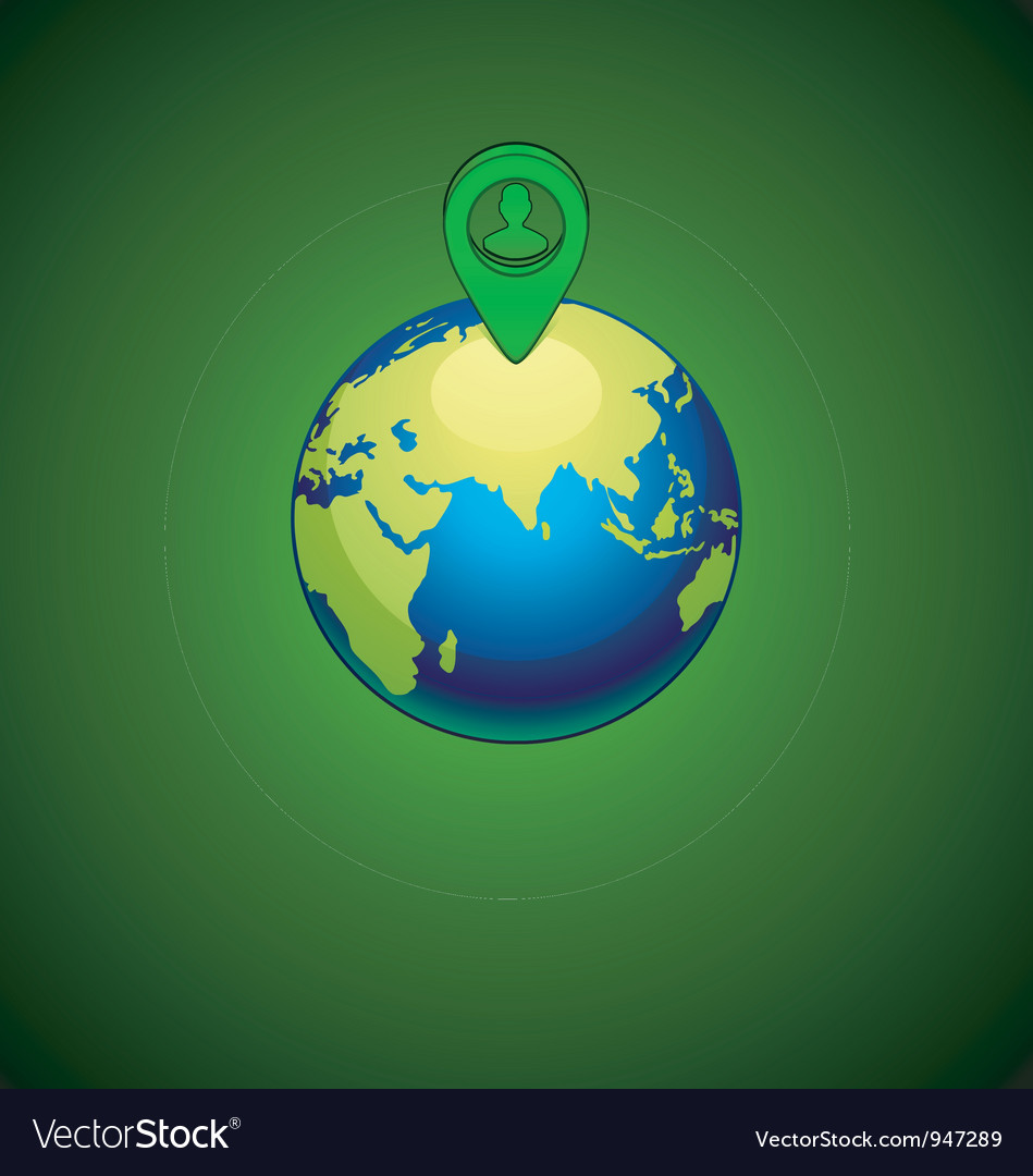Green earth with a pins location person vector | Price: 1 Credit (USD $1)