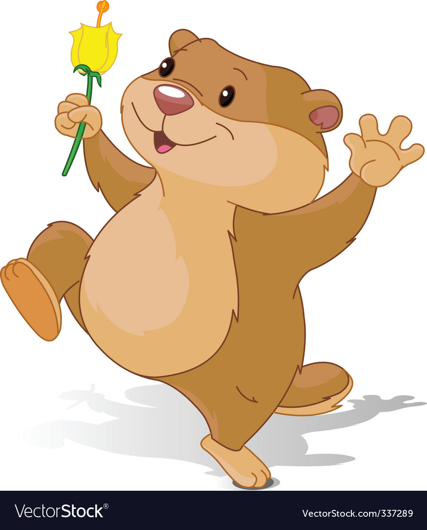 Groundhog dancing with first flower vector | Price: 3 Credit (USD $3)