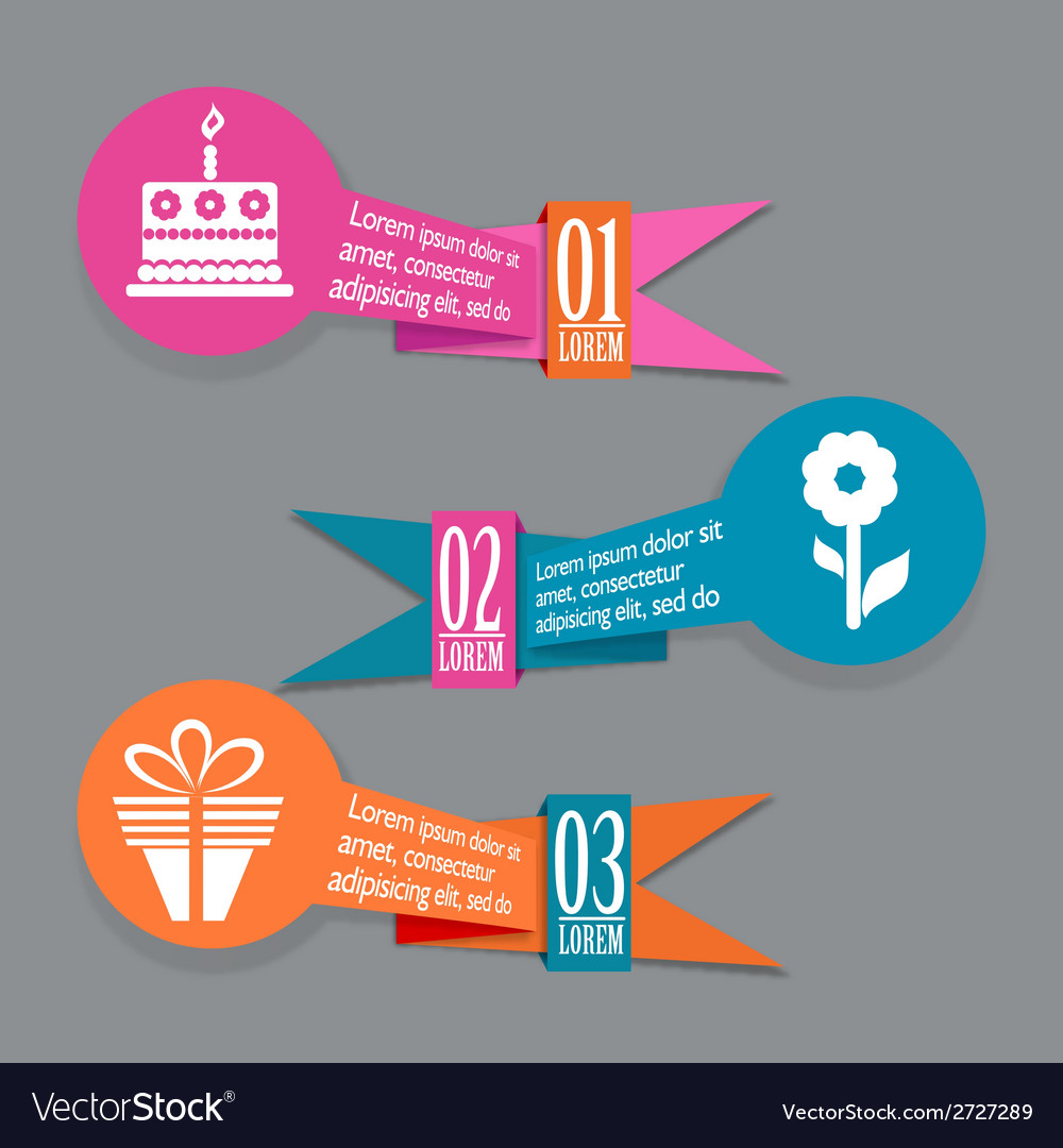 Origami birthday banners set vector | Price: 1 Credit (USD $1)