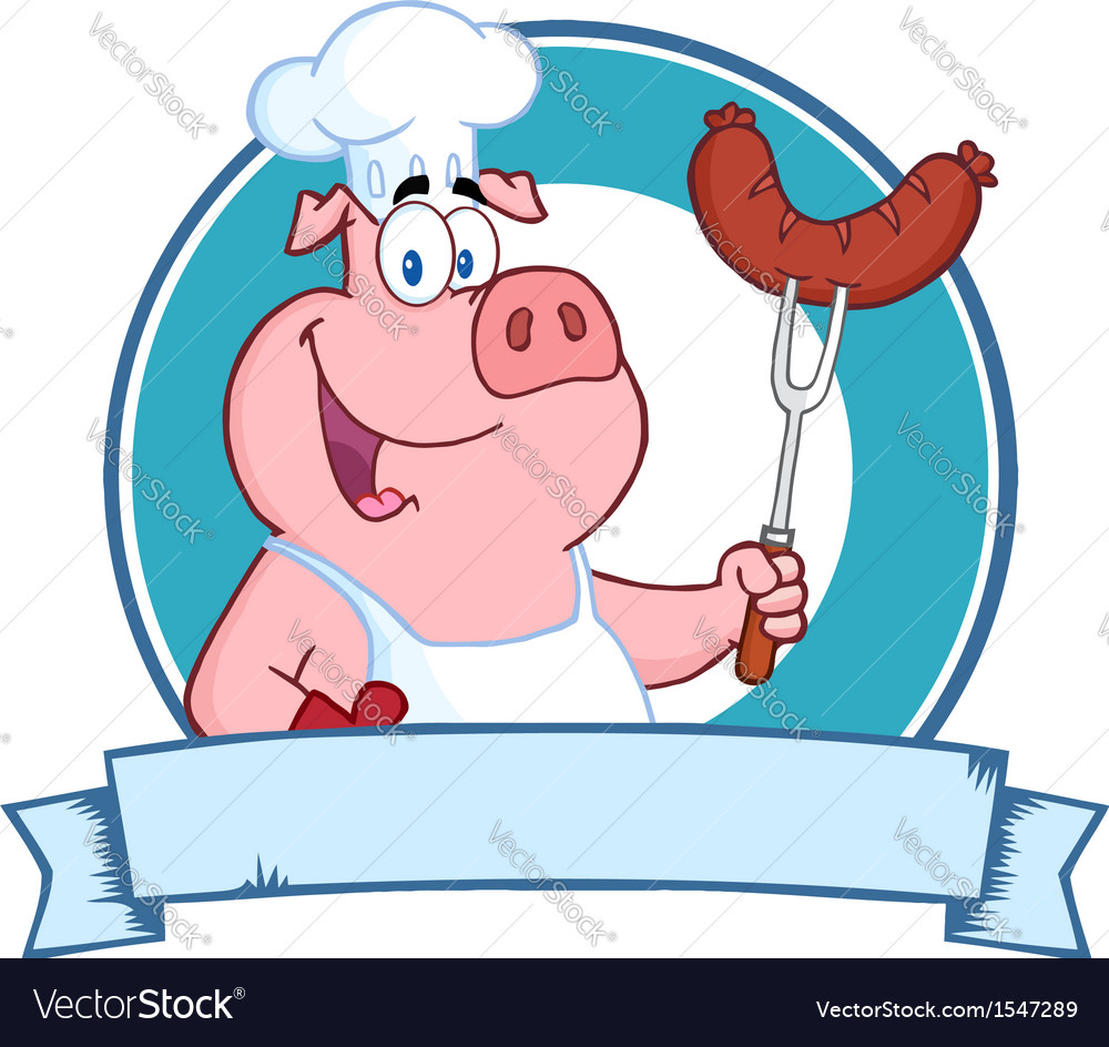 Pig chef cooking pork cartoon vector | Price: 1 Credit (USD $1)