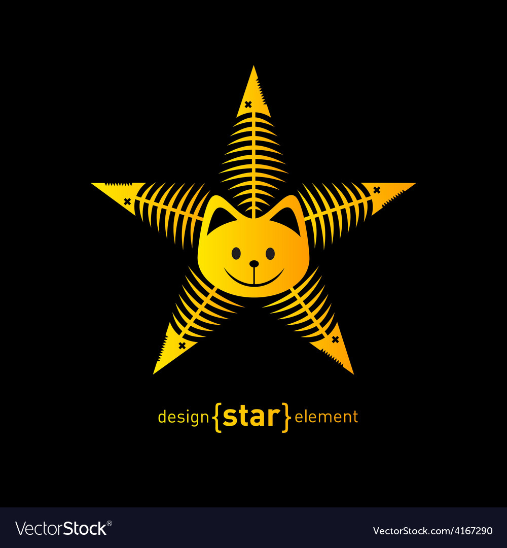 Abstract design element star with cat face and vector | Price: 1 Credit (USD $1)