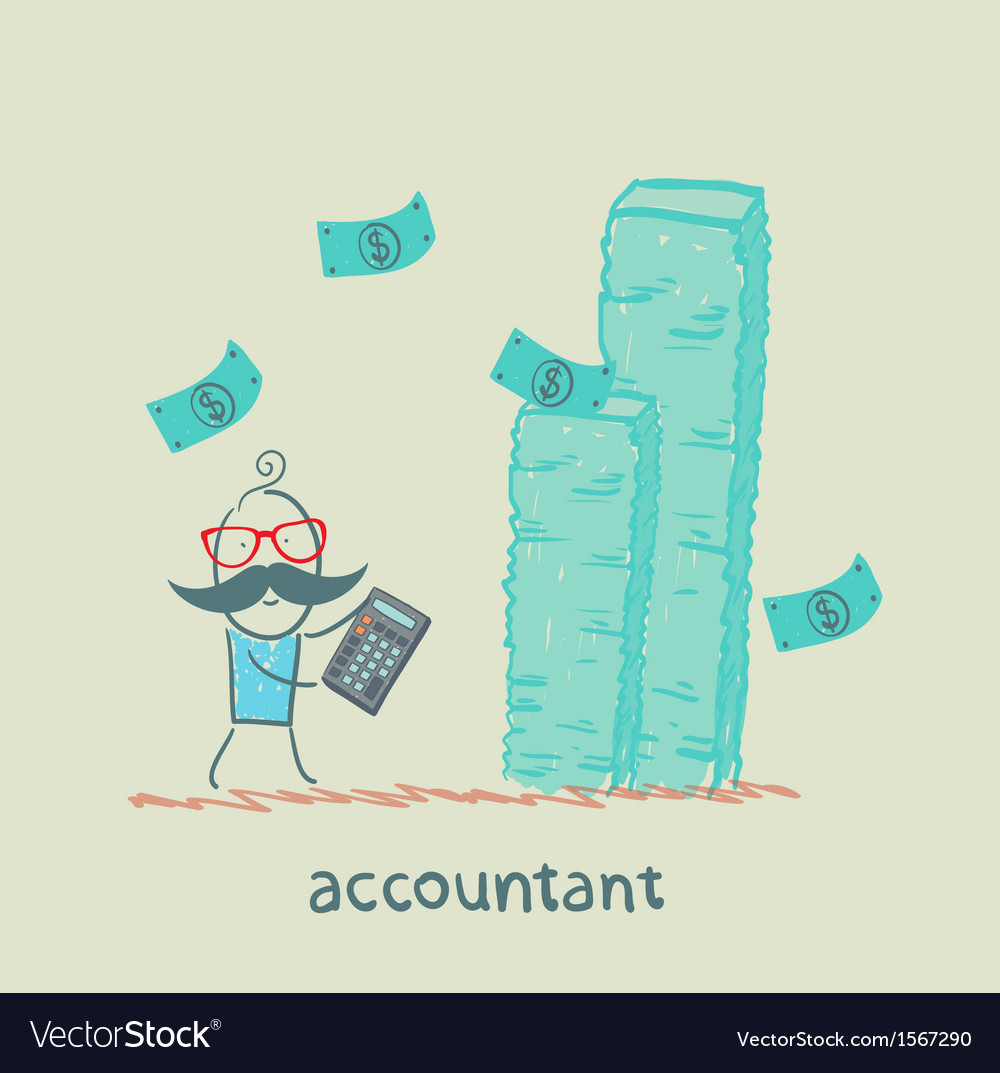 Accountant with a calculator considers a lot of vector | Price: 1 Credit (USD $1)