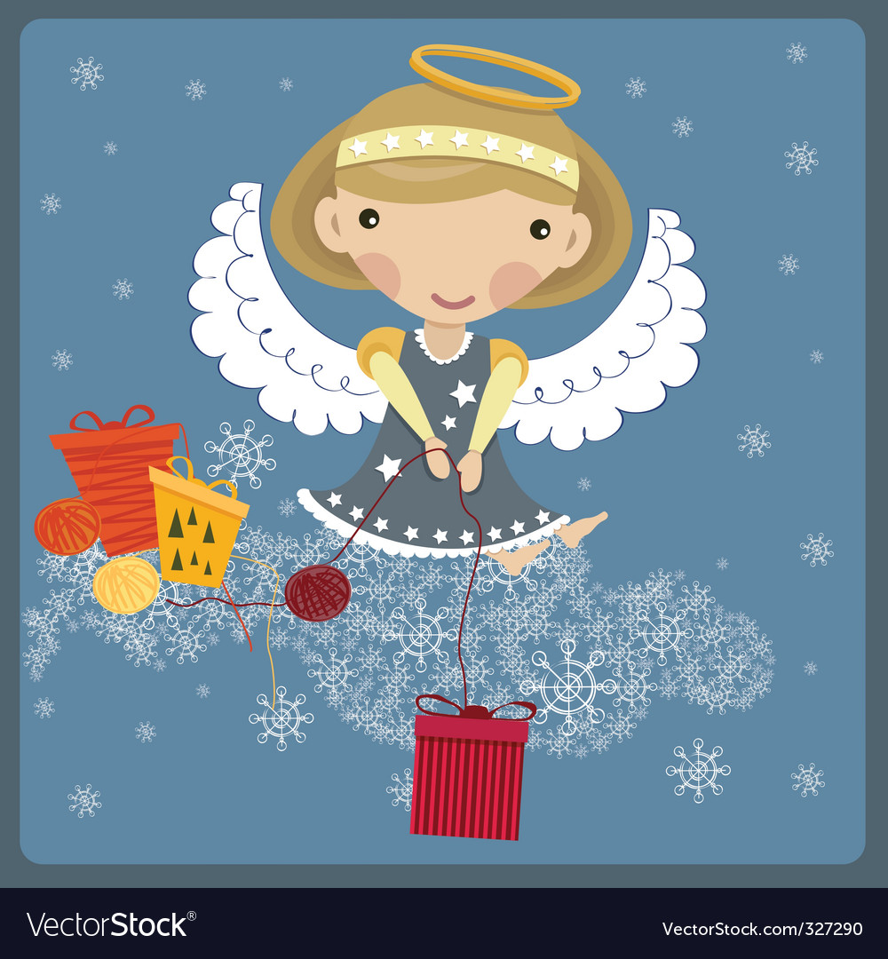 Angel with a present vector | Price: 1 Credit (USD $1)