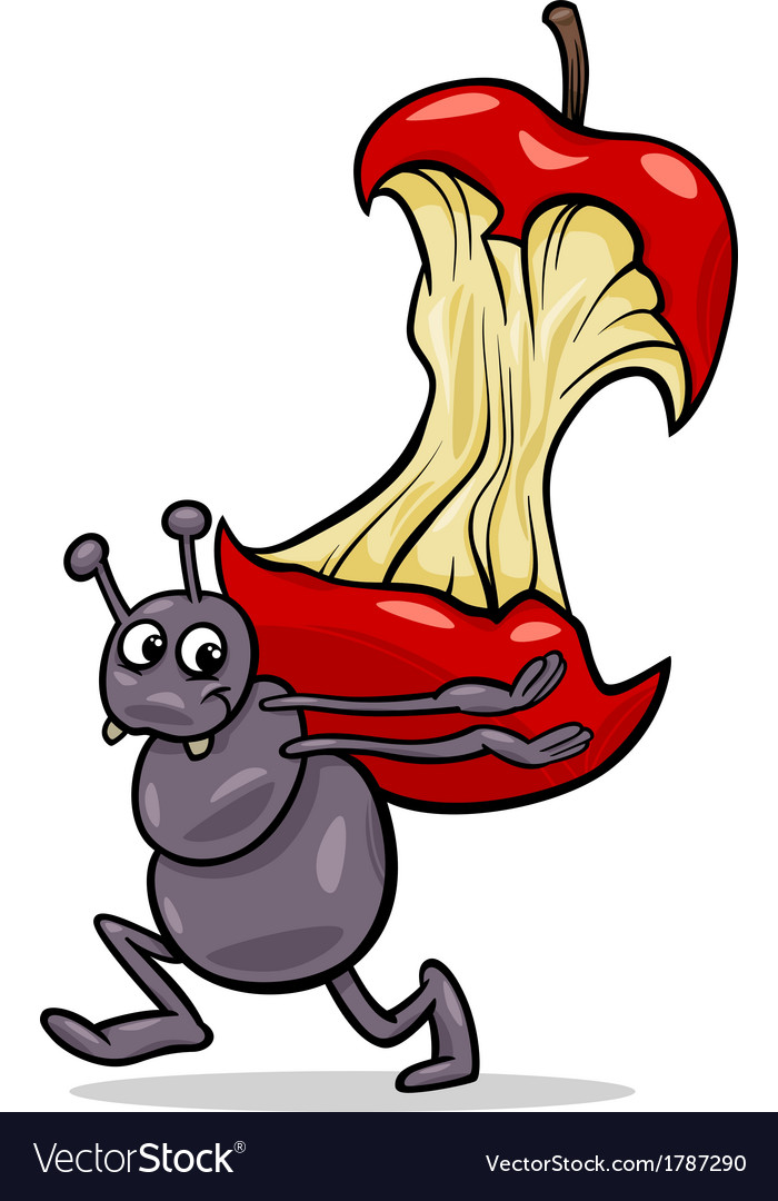 Ant with apple core cartoon vector | Price: 1 Credit (USD $1)