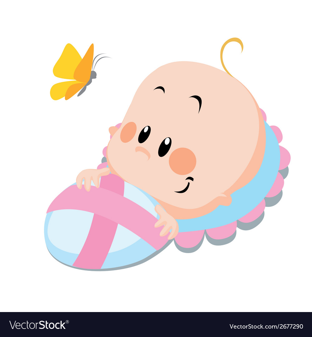 Baby with butterfly vector | Price: 1 Credit (USD $1)