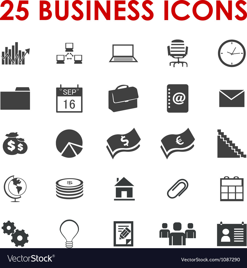 Business office icons vector | Price: 1 Credit (USD $1)