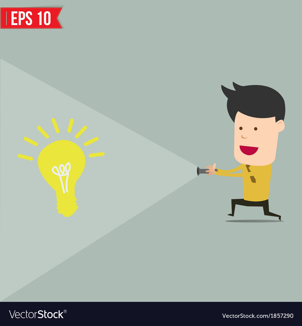 Businessman use flashlight find an idea vector | Price: 1 Credit (USD $1)