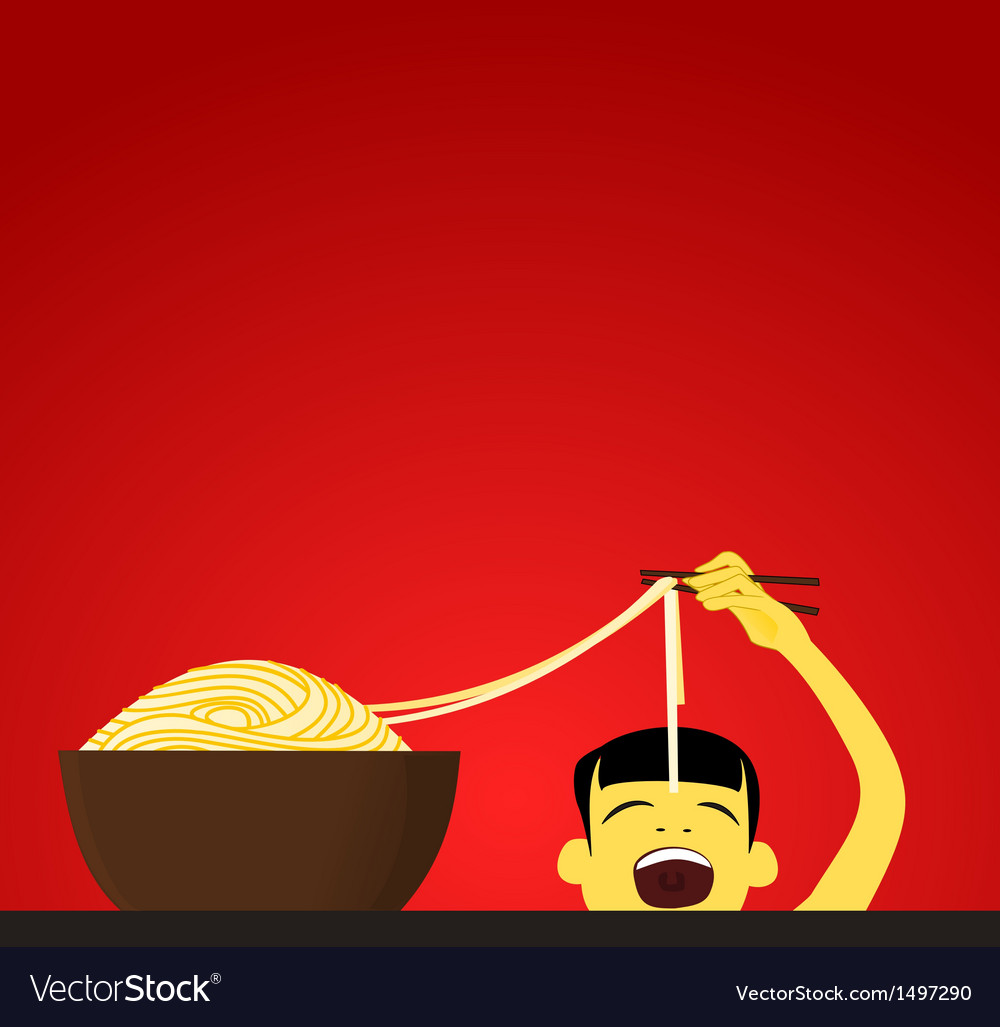 Chinese child eats noodles vector | Price: 1 Credit (USD $1)