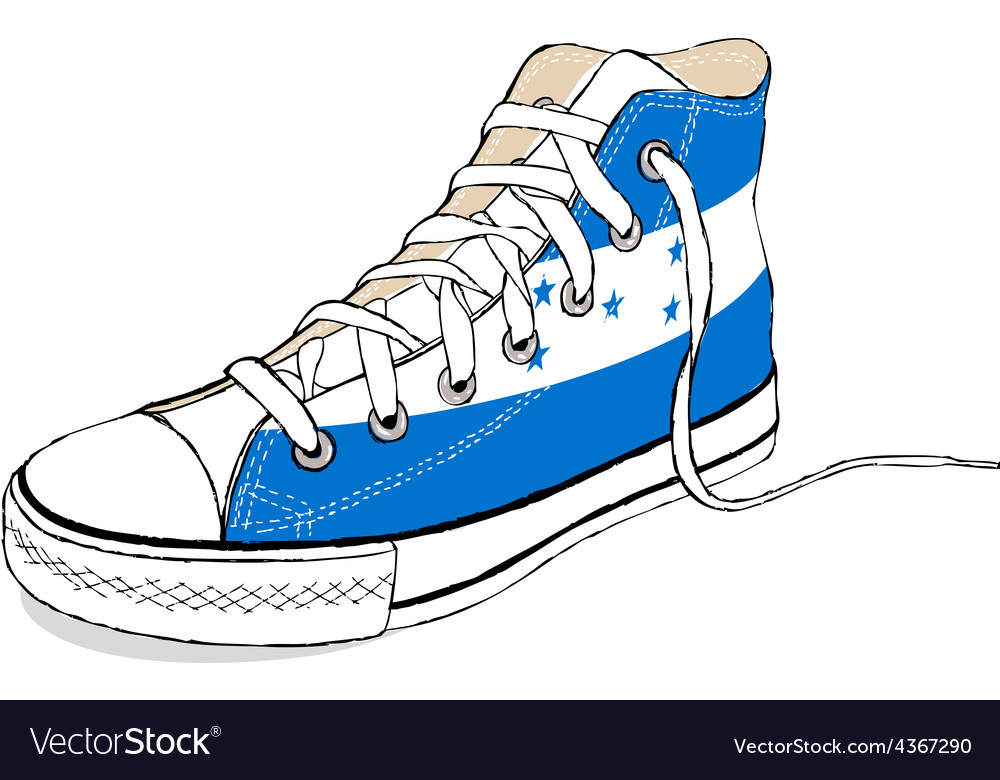 Hand draw modern sport shoes with honduras flag vector | Price: 1 Credit (USD $1)