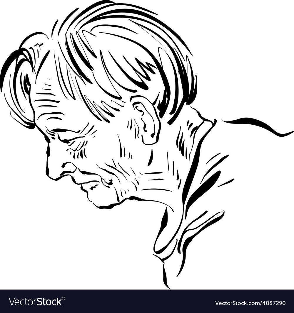 Hand drawn of an old man on white background black vector | Price: 1 Credit (USD $1)