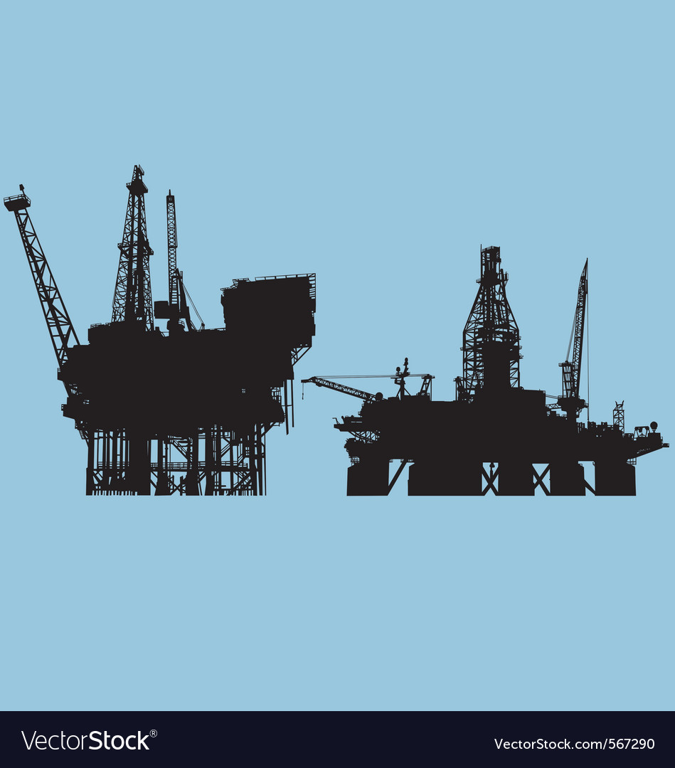 Offshore oil platform vector | Price: 1 Credit (USD $1)