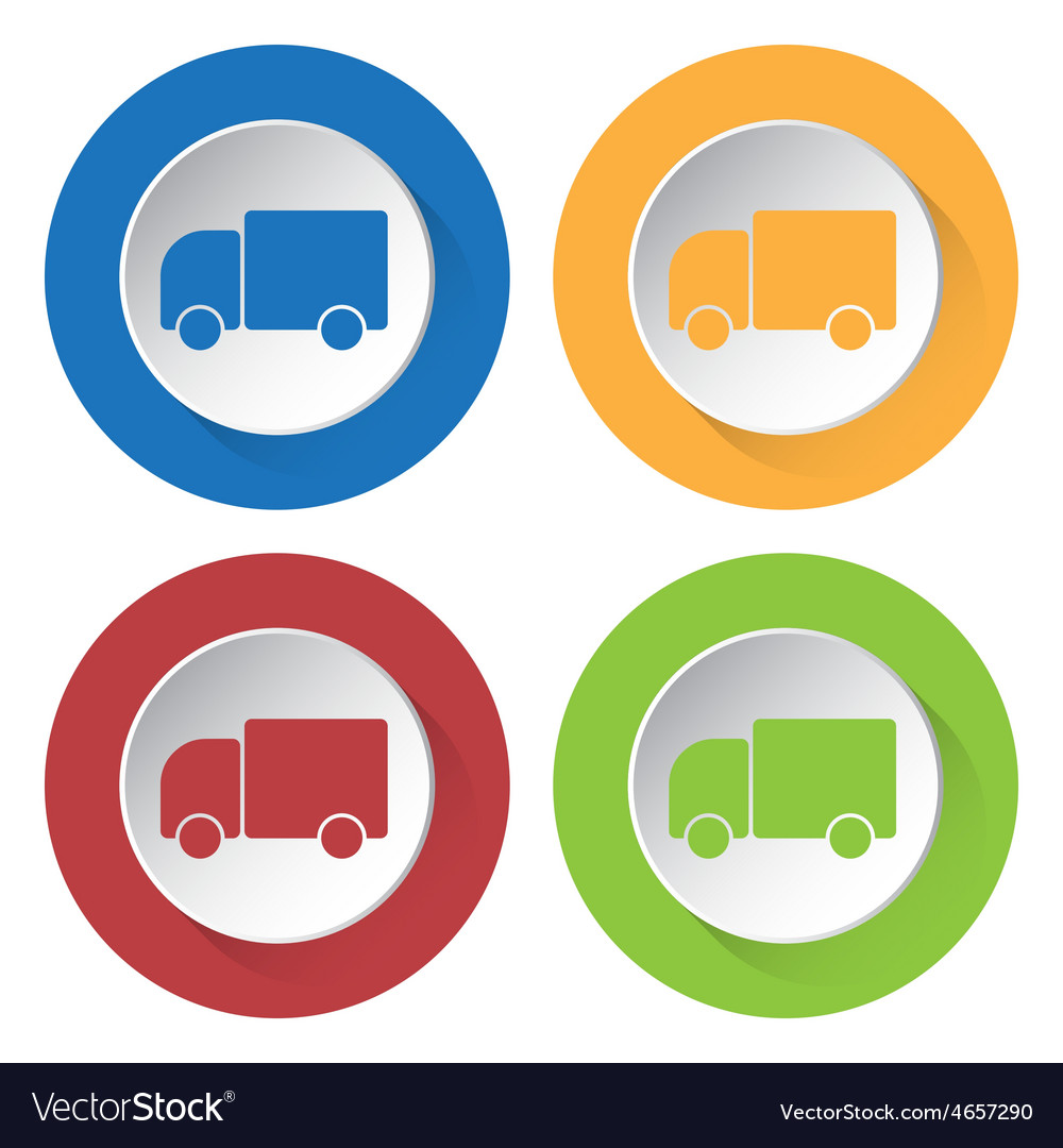 Set of four icons with lorry car vector | Price: 1 Credit (USD $1)