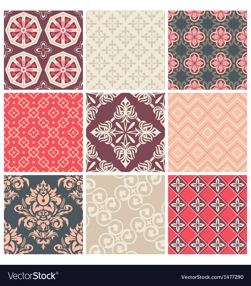 Set of nine colorful seamless patterns vector | Price: 3 Credit (USD $3)