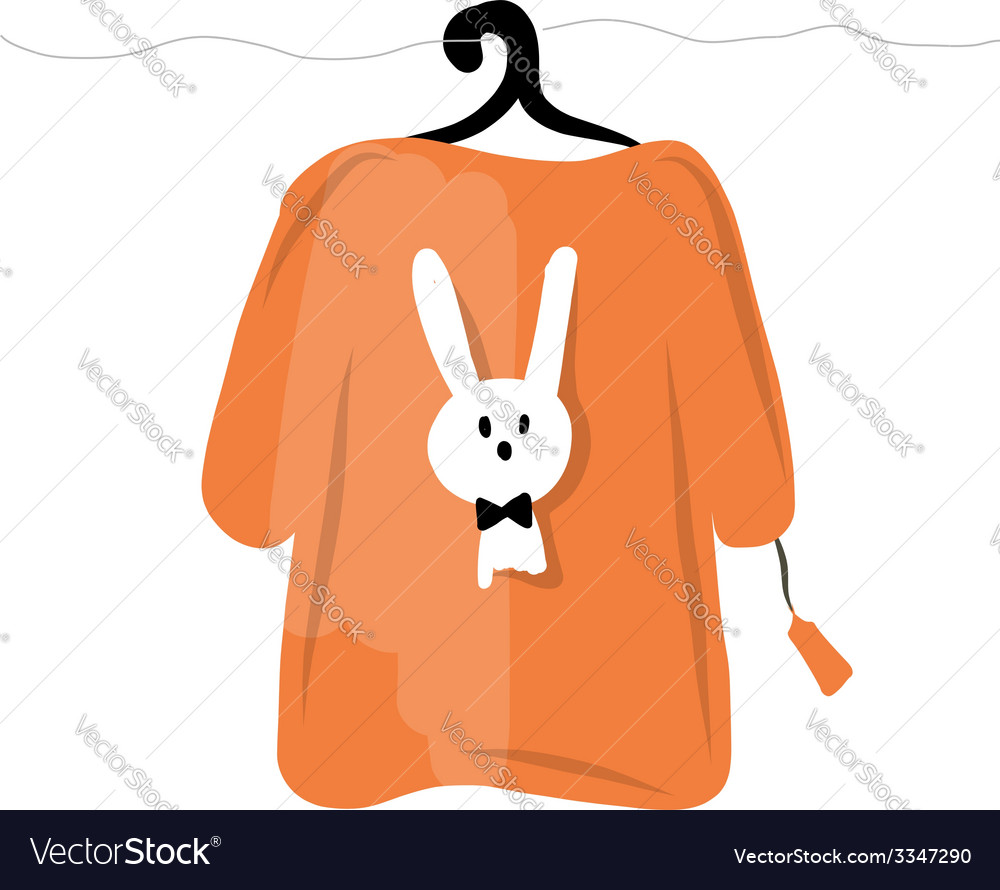 Sweater on hangers with funny rabbit design vector | Price: 1 Credit (USD $1)