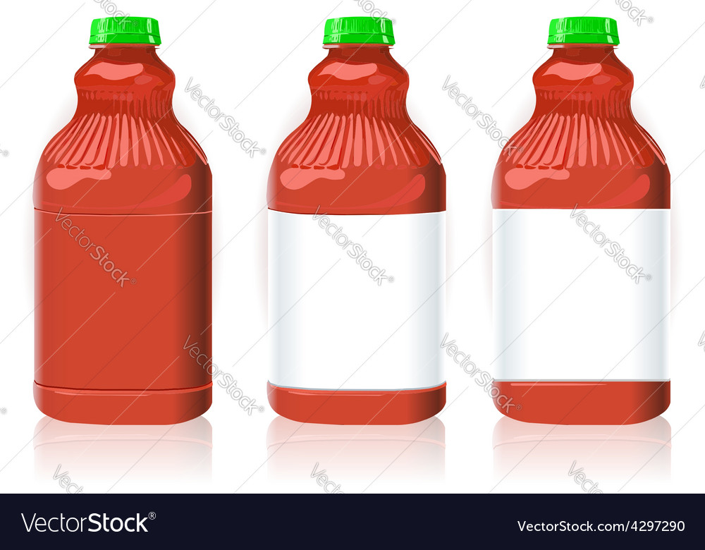 Three red plastic bottles with generic labels vector | Price: 1 Credit (USD $1)