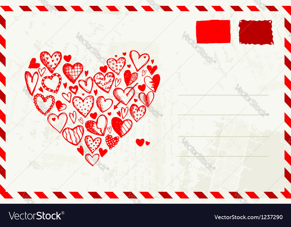 Valentine envelope with red heart sketch and place vector | Price: 1 Credit (USD $1)