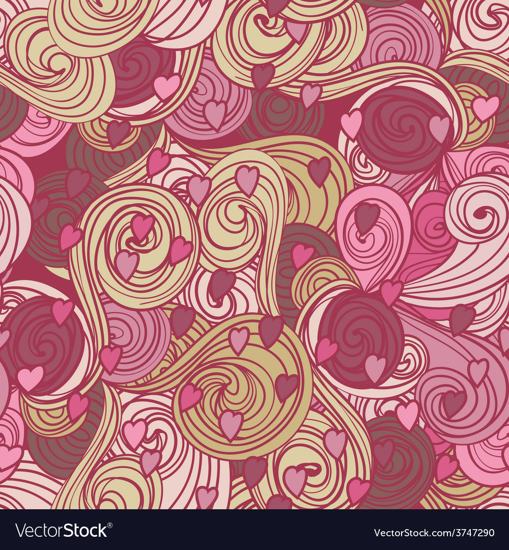 Valentine pattern with hearts waves vector | Price: 1 Credit (USD $1)