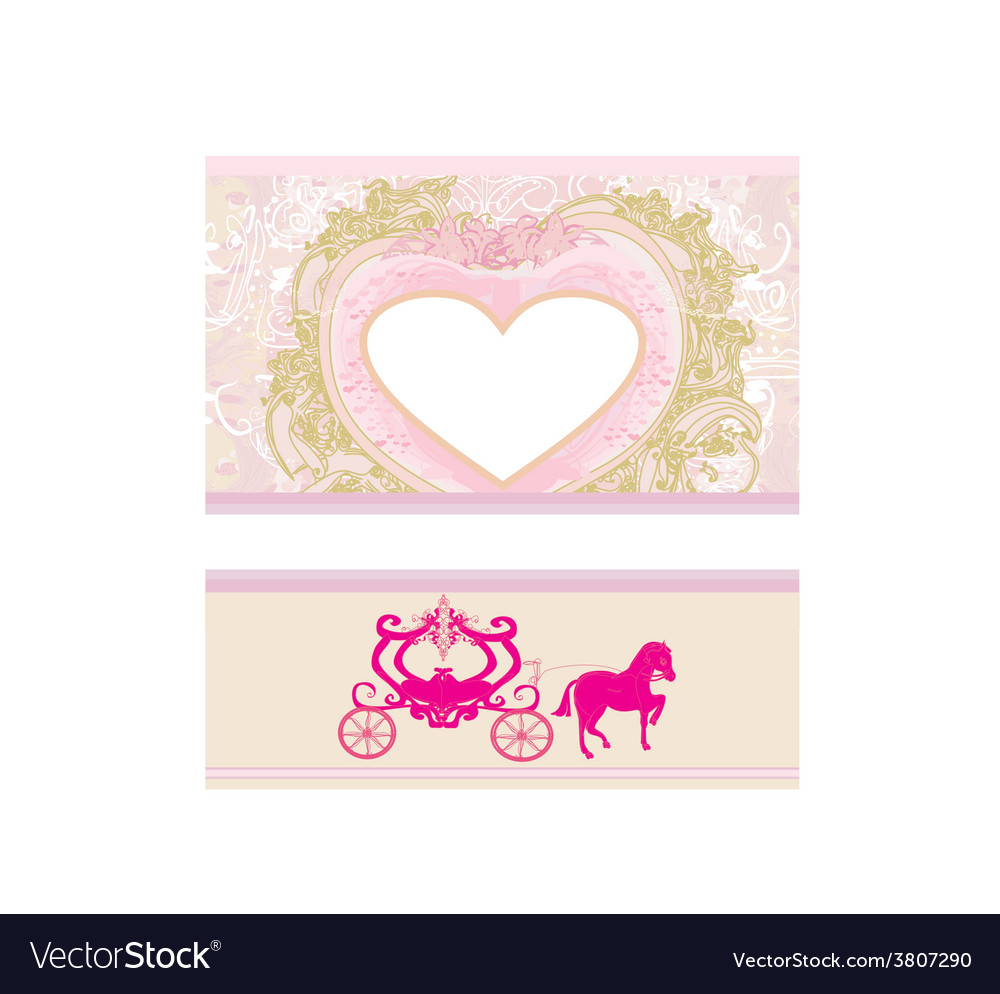 Vintage floral carriage invitation vector | Price: 1 Credit (USD $1)