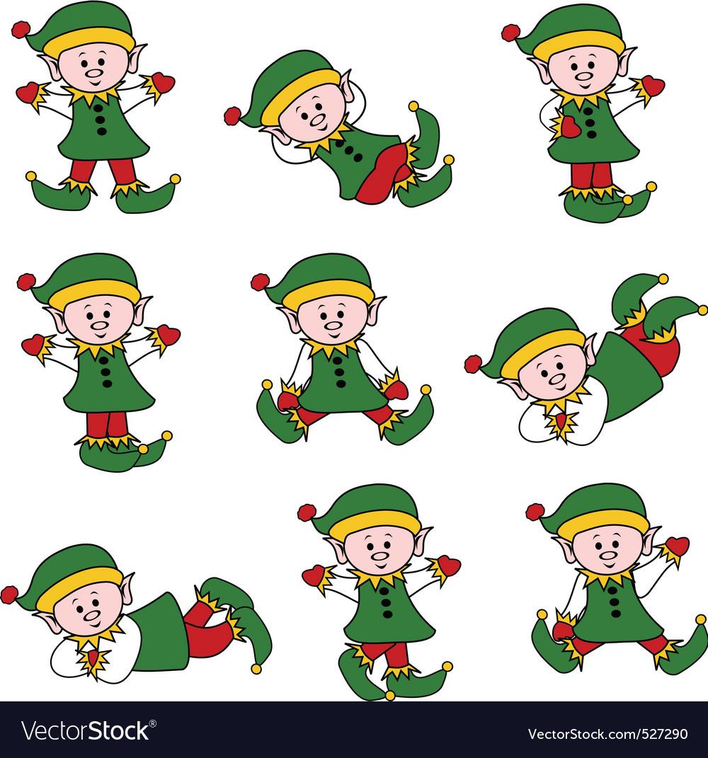 Xmas cute elf set vector | Price: 1 Credit (USD $1)