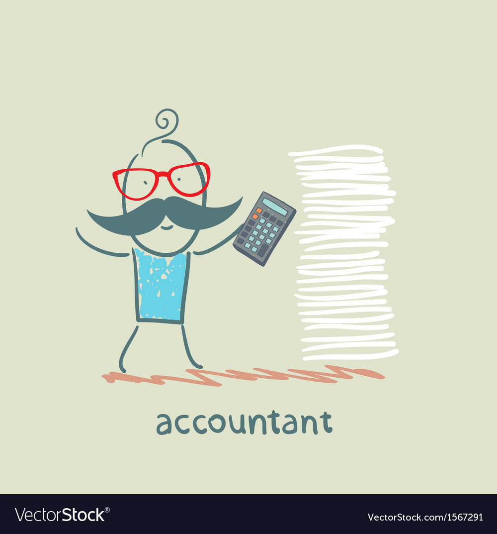 Accountant with a calculator and a stack of vector | Price: 1 Credit (USD $1)