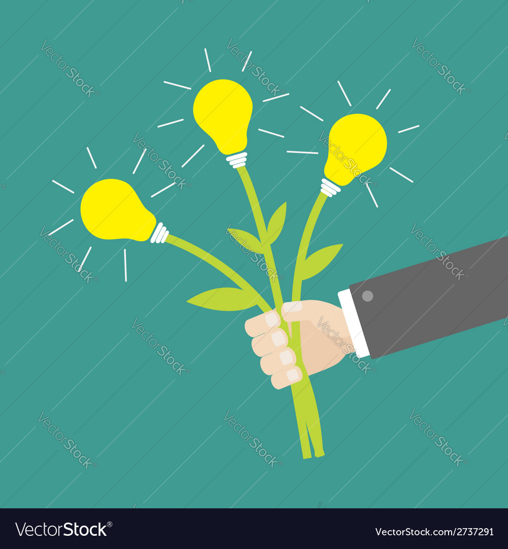 Businessman hand holding idea light bulb flowers vector | Price: 1 Credit (USD $1)