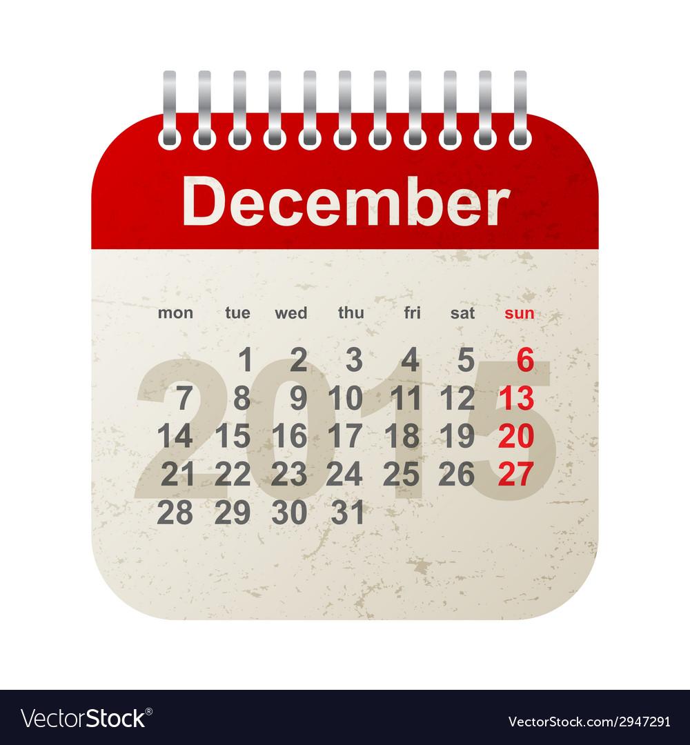 Calendar 2015 - december vector | Price: 1 Credit (USD $1)